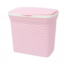 Ведро контейнер д/порошка 10л. Ротанг цвет розовый 1355856