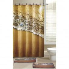 Набор для ванной комнаты Морской прибой 3 предмета(Два коврика+занавеска)