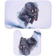 Набор ковриков для ванной и туалета Слон 50х80, 50х40