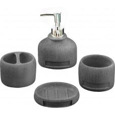 Набор аксессуаров для ванной комнаты, 4 пр,  Хато, цв черный