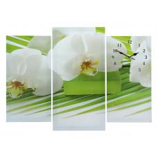 Часы настенные модульные Белые цветы, 60*80см
