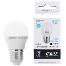 Лампа Gauss LED Elementary Globe 8W E27 4100K 1/10/100 53228