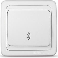 Выключатель одноклавишный UNIVersal серия Валери, с/у, 10А, 220В, белый (еврослот) (Е1508