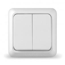 Выключатель двухклавишный серия Олимп,о/у,10А,220В, белый (еврослот) (AT1438/00023