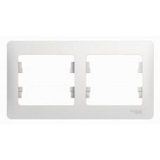 GLOSSA Рамка горизонтальная 2 поста белая