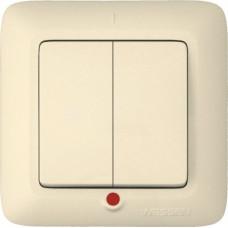 Выключатель ПОТ Прима С56-039 2-кл.с/у индикатор, слоновая кость