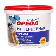 Краска Ореол ДИСКОНТ интерьерная 1,5кг белая матовая полиакриловая