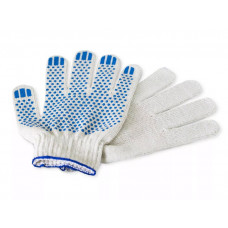 Перчатки х/б 10класс 4 нити белые точка