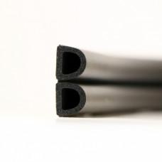 Уплотнитель тип D 20м 14*12мм черный двойной 1м