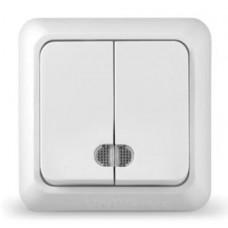 Выключатель двухклавишный с подсветкой серия Олимп,о/у, 10А, 220В, бел., еврослот
