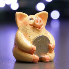 Фигура Свинка рубль бережет розовая 5х5х5см