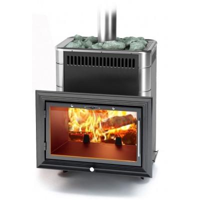 Печь банная каменка Витрувия II Carbon с большим светопрозрачным экраном с теплообменником, антрацит