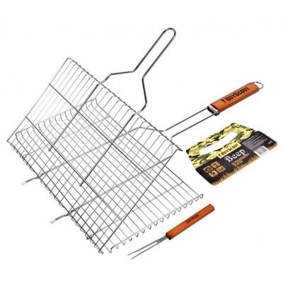 Решетка-гриль для стейков, большая с вилкой, картонный веер в ПОДАРОК, 70( 5)x45x27x2 cм BOYSCOUT