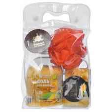 Подарочный набор 3 предмета (соль, мыло, мочалка) Банные штучки