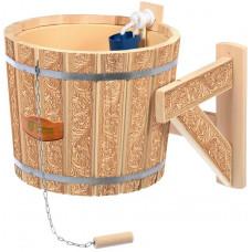 Русский душ 16 л, липа, обливное устройство c пластиковой вставкой и наливным клапаном, с орнаментом