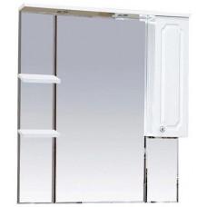 Шкаф-зеркало правый Александра-85 (свет), бел.мет.