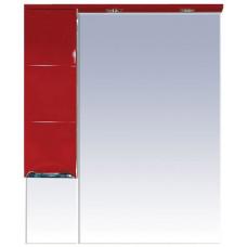 Шкаф-зеркало Петра-75 (свет) левый красная эмаль