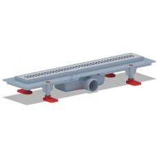 Трап пластиковый линейный сухой 450х62, диаметр выпуска 40 мм, решетка нержавеющая сталь, матовая