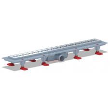 Трап пластиковый линейный сухой 650х62, диаметр выпуска 40 мм, решетка нержавеющая сталь, глянец