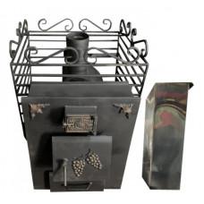 Печь-каменка банная Кузбасс VER. 2.0 мини, 60л.нерж ПРАВЫЙ съемный бак тройник,подводка