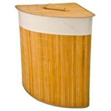 Корзина для белья складная с крышкой, круглая, бамбук, 35x35х50см, натурал.цвет VETTA