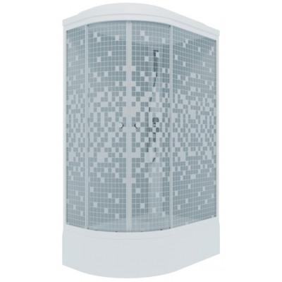 Душевая кабина Коралл 120*80 В прав., 1/4 круга, сред.под., бел., Мозаика (ДН4 7мест)   сифон