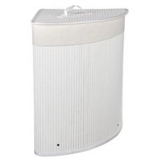 Корзина для белья складная с крышкой, угловая, бамбук, 35x35х50см, белая VETTA